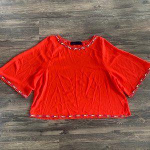 francesca's festive red sheer blouse - size m